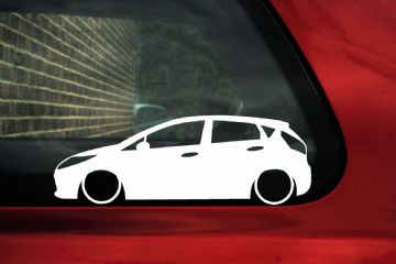 2x LOW Ford Mk7 Fiesta (5-DOOR) lowered outline stickers ,Decals